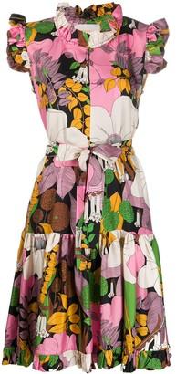 La DoubleJ Silk Floral Print Shirt Dress