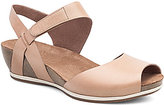 Dansko Vera Leather Banded Ankle Strap Cork Wedge Sandals