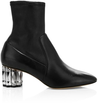 Salvatore Ferragamo Camellia Faceted-Heel Leather Ankle Boots