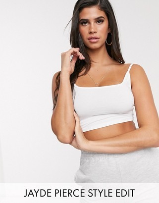 ASOS DESIGN crop cami with square neck and skinny straps in white