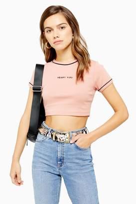 Topshop Womens Petite Heart You Motif T-Shirt - Pink