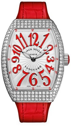 Franck Muller Vanguard Stainless Steel, Diamond, Alligator Rubber Strap Watch