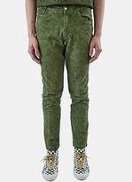 Telfar Men's Embroidered Logo Straight Leg Jeans In Green