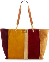 Chloé Keri Medium Striped Suede Tote Bag, Caramel