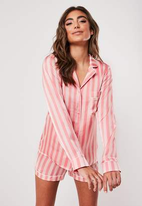 Missguided Pink Satin Stripe Long Sleeve Pyjama Shirt