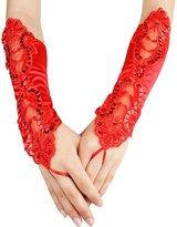Coxeer Women's Fingerless Gloves Lace Satin Gloves Sequins Bridal Wedding Gloves