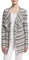 St. John Belessa Striped Side-Slit Cardigan, Caviar/Alabaster