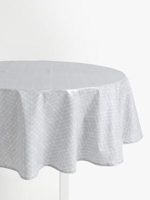 John Lewis & Partners Wipe Clean PVC Geometric Print Round Tablecloth, Pale Grey, Dia.180cm