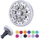 HOUSWEETY Flower Car Air Freshener Aromatherapy Essential Oil Diffuser Locket With Vent Clip - 12 Refill Pads