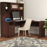 Hillsdale L-Shape Executive desk with Hutch Red Barrel Studio Color: Harvest Cherry