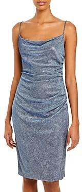 Laundry by Shelli Segal Metallic Ruched Slip Dress