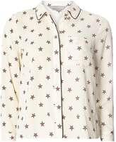 Petite Ivory Star Print Piped Shirt