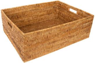 Artifacts Trading Company Artifacts Rattan Rectangular Basket w/ Cutout Handles, Honey Brown,