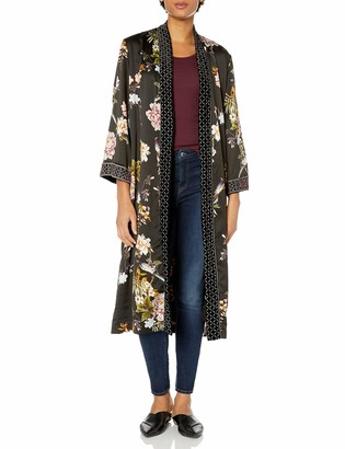 3J Workshop by Johnny Was Women's Black Printed Long Kimono with Velvet Detail