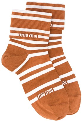 Miu Miu Striped Logo Socks