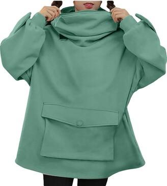 Boizan Women Novelty Frog Hoodie Large Front Pocket Cute Sweatershirt Women's Sweatshirt Girl's Zipper Mouth Hooded Tops Loose Stitching Design Pullover Ladies Long Sleeve (Green S)