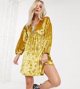 Asos DESIGN Petite long sleeve velvet smock dress
