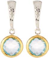 Gurhan Small Wide Hoop Earrings w/ Blue Topaz Drop
