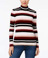 Karen Scott Cotton Striped Mock-Turtleneck Sweater, Created for Macy's