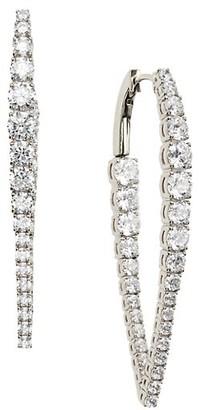Adriana Orsini Rockslide Silvertone & Cubic Zirconia Tapered Hoop Earrings