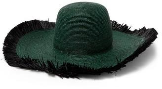 ALBUS LUMEN Franja Frayed Raffia Hat - Dark Green