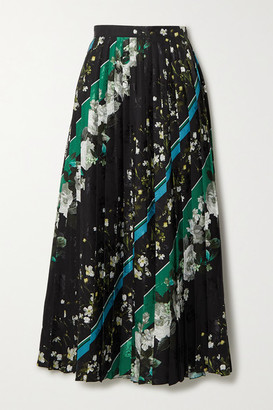 Erdem Nolana Pleated Printed Floral-jacquard Midi Skirt - Black