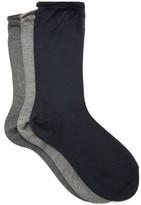 Raey Pack Of Three Roll-top Silk Socks - Womens - Grey Multi
