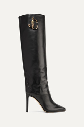 Jimmy Choo Mahesa 100 Embellished Leather Knee Boots - Black