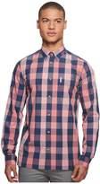 Ben Sherman Long Sleeve Linen Slub Buffalo Shirt Men's Long Sleeve Button Up