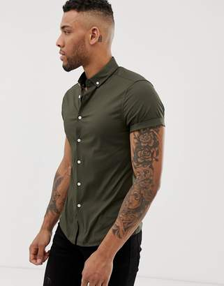 Asos Design DESIGN skinny short sleeve shirt with button down collar in khaki-Green