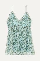 Lee Mathews - Nina Ruffled Floral-print Silk-crepon Camisole - Green