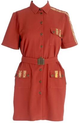 Short Sleeve Wool Button Up Shirt-Dress With Pockets Burgundy