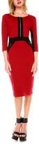 Stanzino Burgundy Zip-Front Sheath Dress