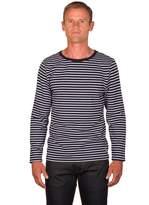 Ugholin Men's Breton Stripe Cotton Printed Long Sleeve T-shirt XXL