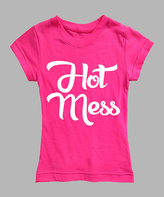 Urban Smalls Hot Pink & White 'Hot Mess' Fitted Tee - Toddler & Girls