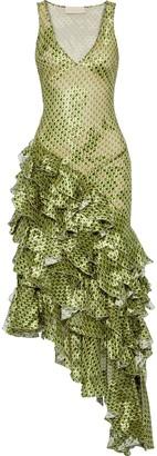 Antonio Berardi Asymmetric Ruffled Printed Fil Coupe Chiffon Gown