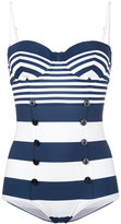 Dolce & Gabbana striped button front swimsuit - women - Polyamide/Spandex/Elastane - 3