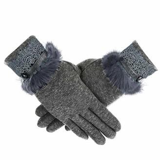 HUYURI Women Cashmere Keep Warm Driving Full Finger Gloves Touch Screen Glove Gray