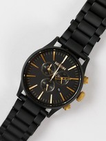 Nixon Sentry 42mm Chronograph Analogue Watch in Black & Gold