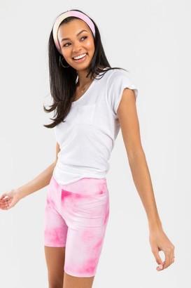 francesca's Darlah High Waist Tie-Dye Biker Shorts - Pink