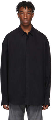 Juun.J Black Cotton and Wool Shirt