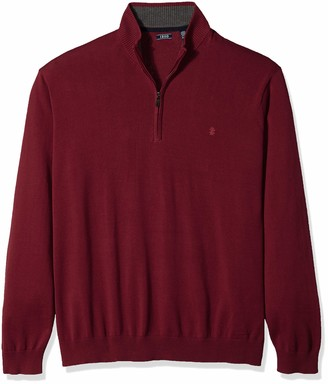 Izod Men's Big Premium Essentials Quarter Zip Solid 12 Gauge Sweater