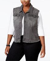 Melissa McCarthy Trendy Plus Size Embellished Denim Vest