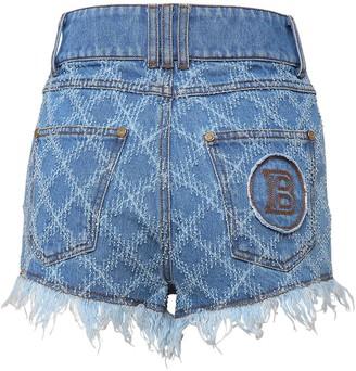 Balmain Laser Grid Cotton Denim Shorts