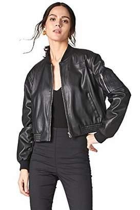 MEHEPBURN Women's Faux Leather Short Bomber Moto Biker Jacket S