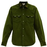 Phipps - Rockhound Embroidered-collar Cotton-corduroy Shirt - Mens - Green