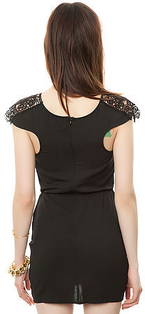 Reverse The Lace Keyhole Dress in Black