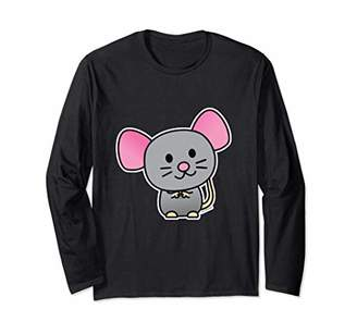 Happy rat rodent mouse pet gray tail Long Sleeve T-Shirt