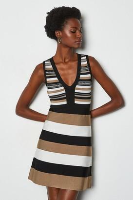 Karen Millen Stripe Bandage Knit Dress