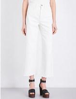 MiH Jeans Caron frayed-hem wide-leg high-rise jeans